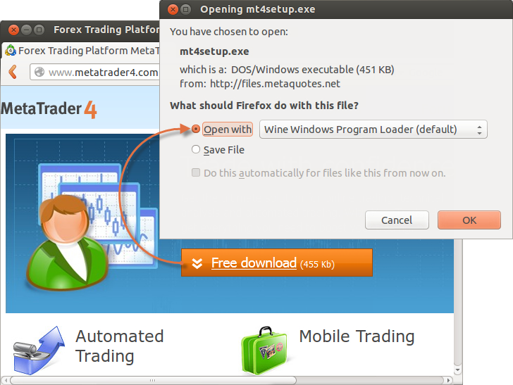 Downloading MetaTrader 4 installation package from the official site